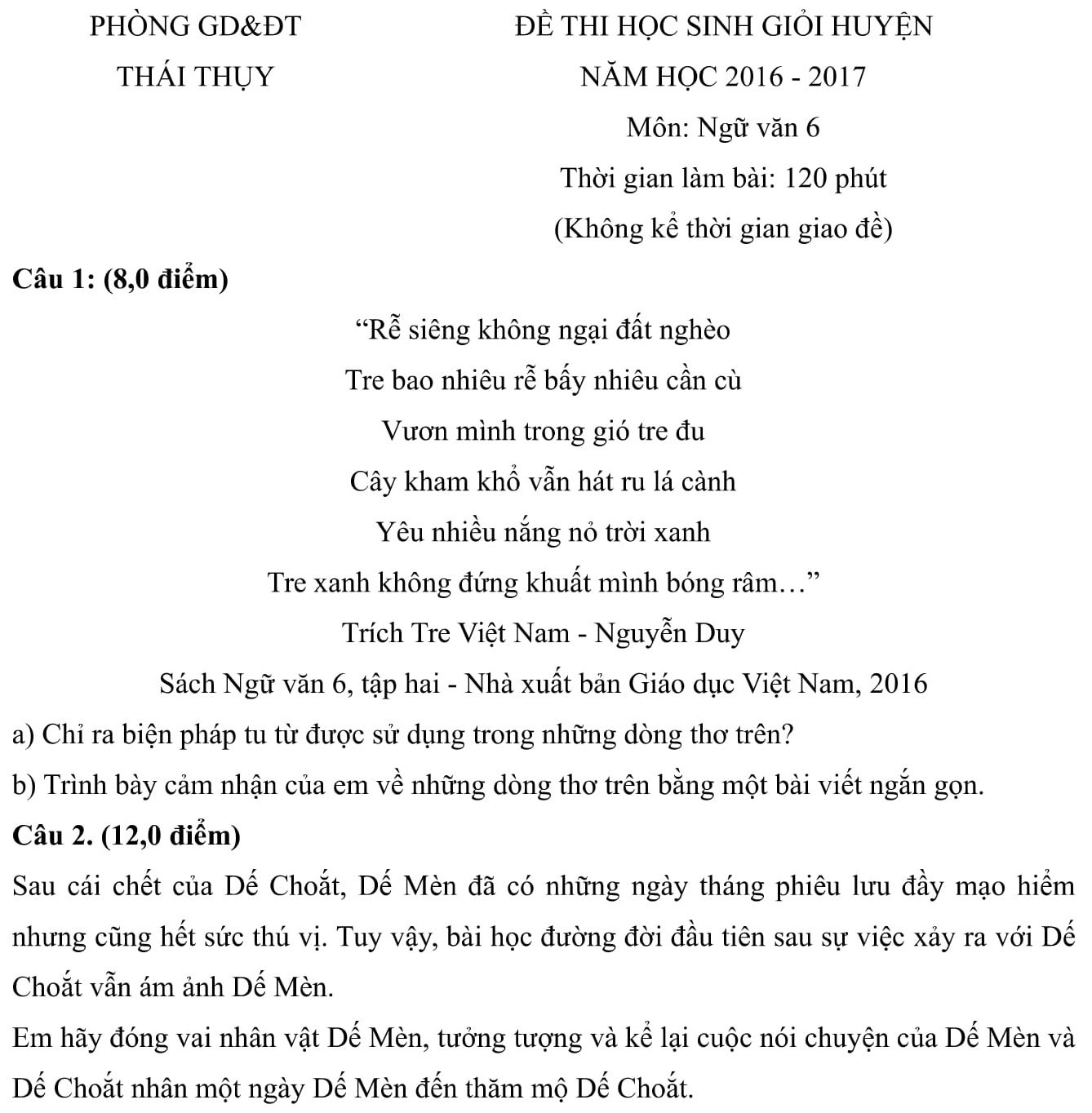 Đáp án và đề thi HSG Ngữ Văn phòng GD&ĐT Thái Thụy 2016-2017