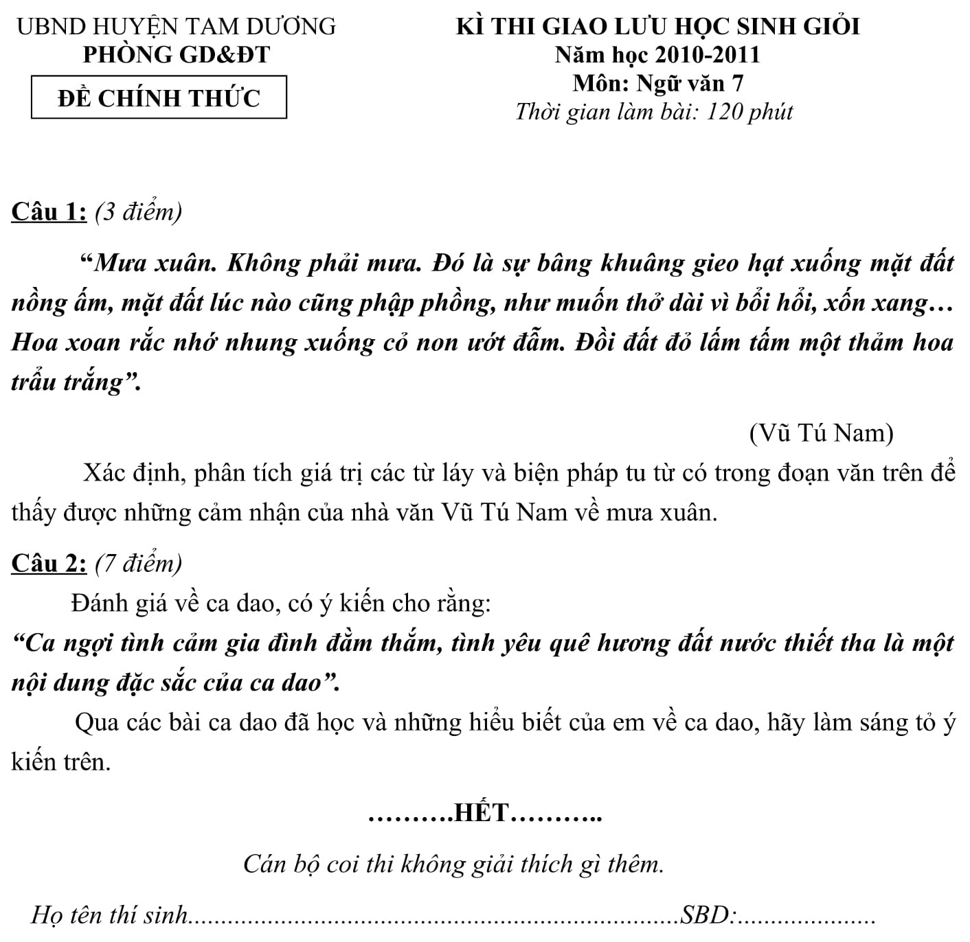 Đáp án và đề thi HSG Ngữ Văn 8 phòng GD&ĐT Tam Dương 2010-2011