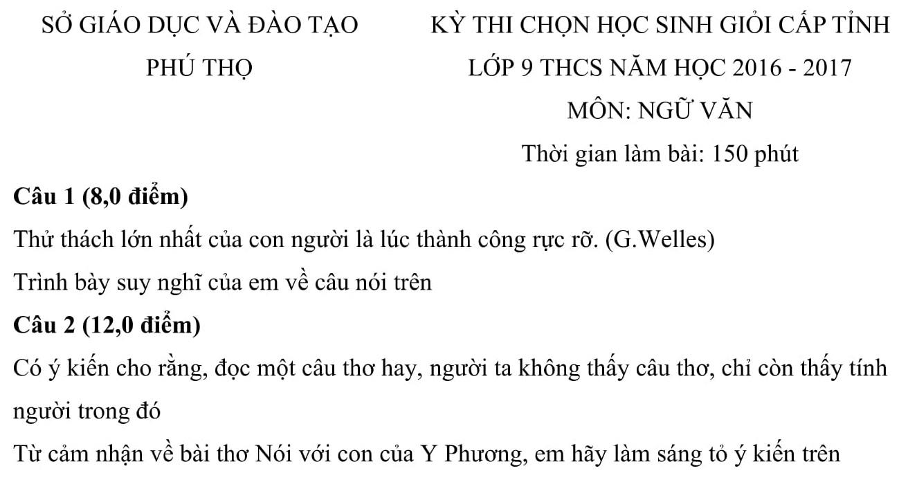 Đáp án và đề thi HSG Ngữ Văn 9 phòng GD&ĐT Phú Thọ 2016-2017