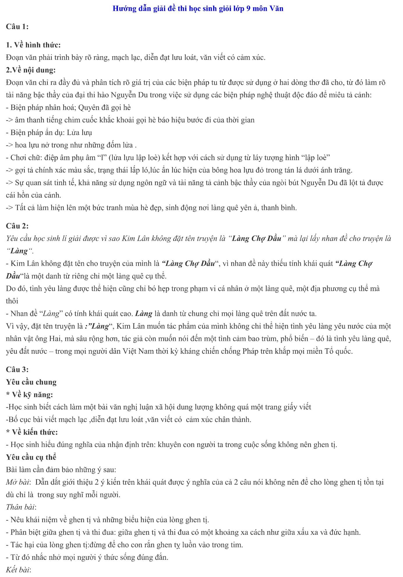 Đáp án và đề thi HSG Ngữ Văn 9 phòng GD&ĐT Thạch Thành 2013-2014