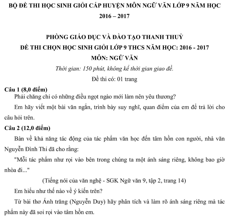 Đáp án và đề thi HSG Ngữ Văn 9 phòng GD&ĐT Thanh Thủy 2016-2017
