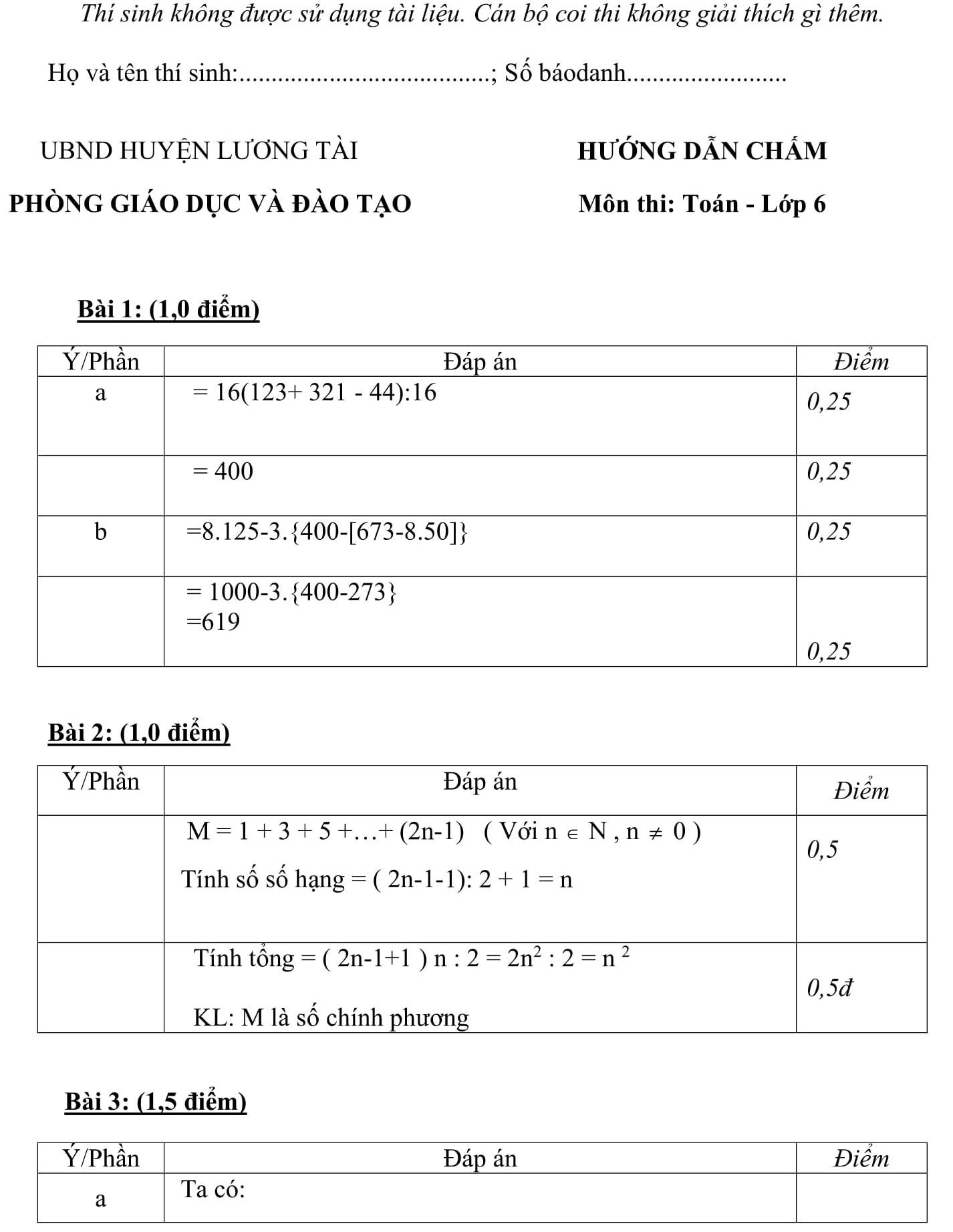 Đáp án và đề thi HSG toán 6 phòng GD&ĐT Lương Tài 2015-2016