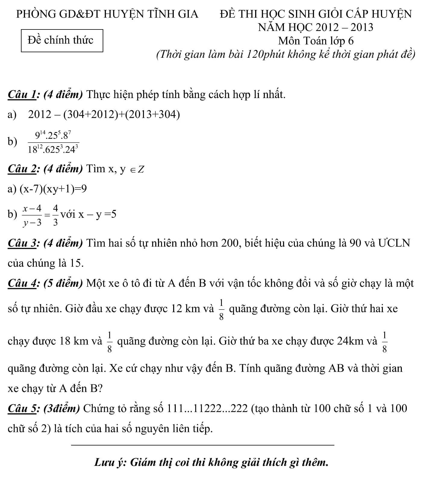 Đáp án và đề thi HSG toán 6 phòng GD&ĐT Tĩnh Gia 2012-2013