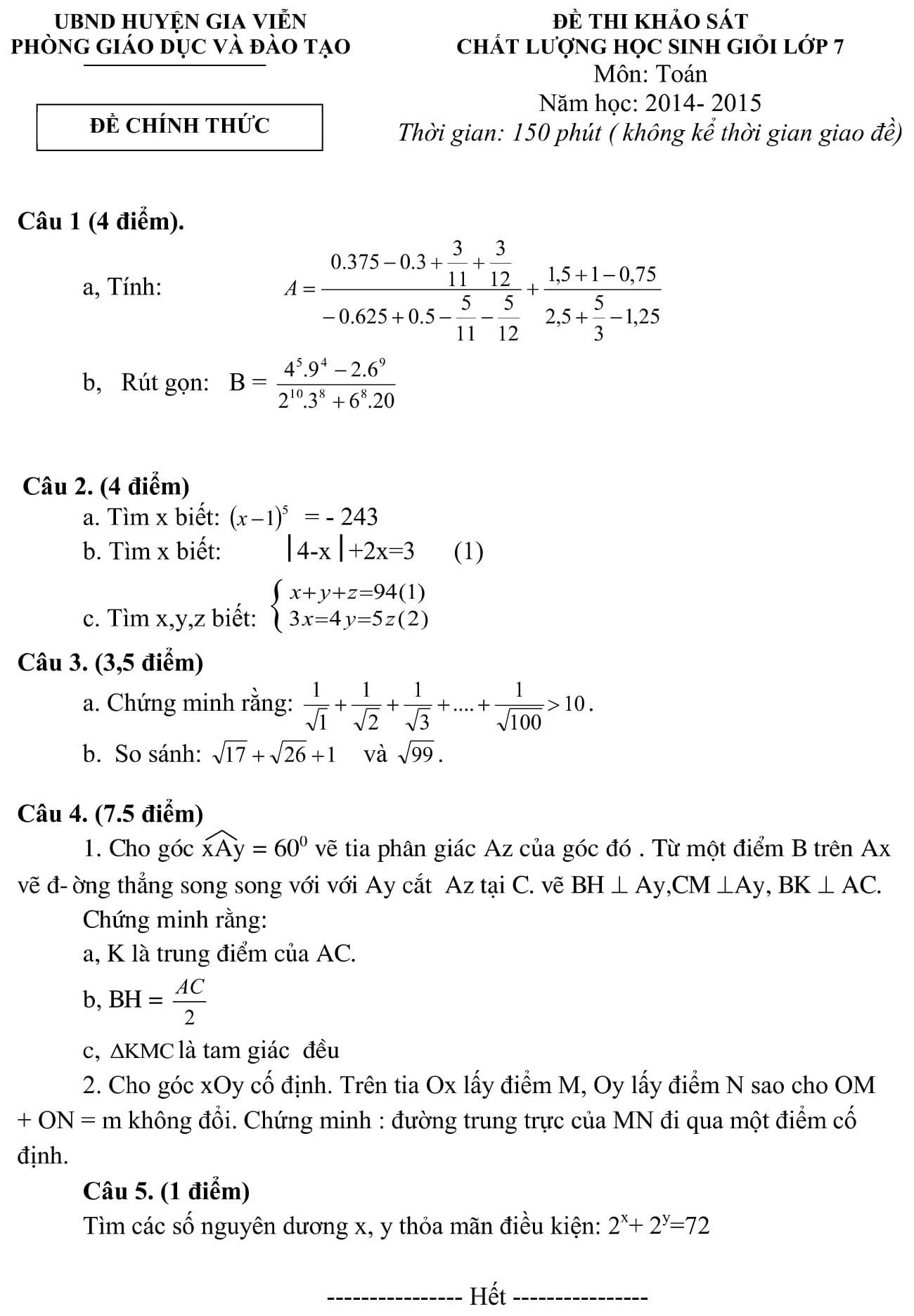 Đáp án và đề thi HSG toán 7 phòng GD&ĐT Gia Viễn 2014-2015