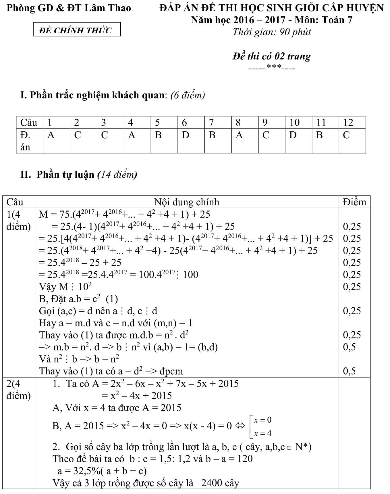 Đáp án và đề thi HSG toán 7 phòng GD&ĐT Lâm Thao 2016-2017