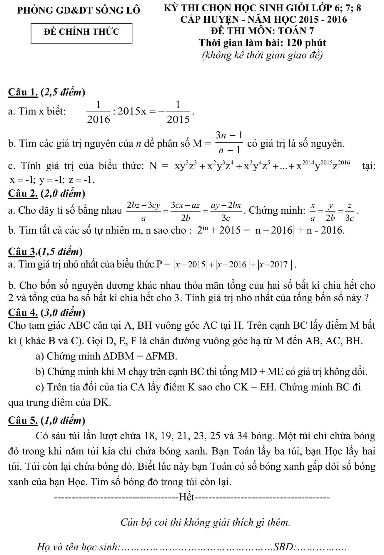 Đáp án và đề thi HSG toán 7 phòng GD&ĐT Sông Lô 2015-2016