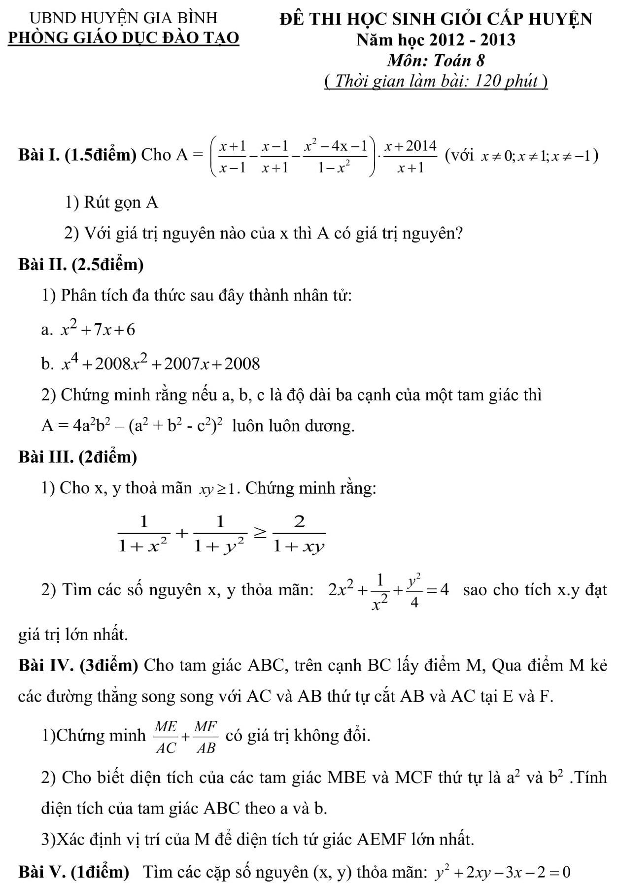 Đáp án và đề thi HSG toán 8 phòng GD&ĐT Gia Bình 2012-2013