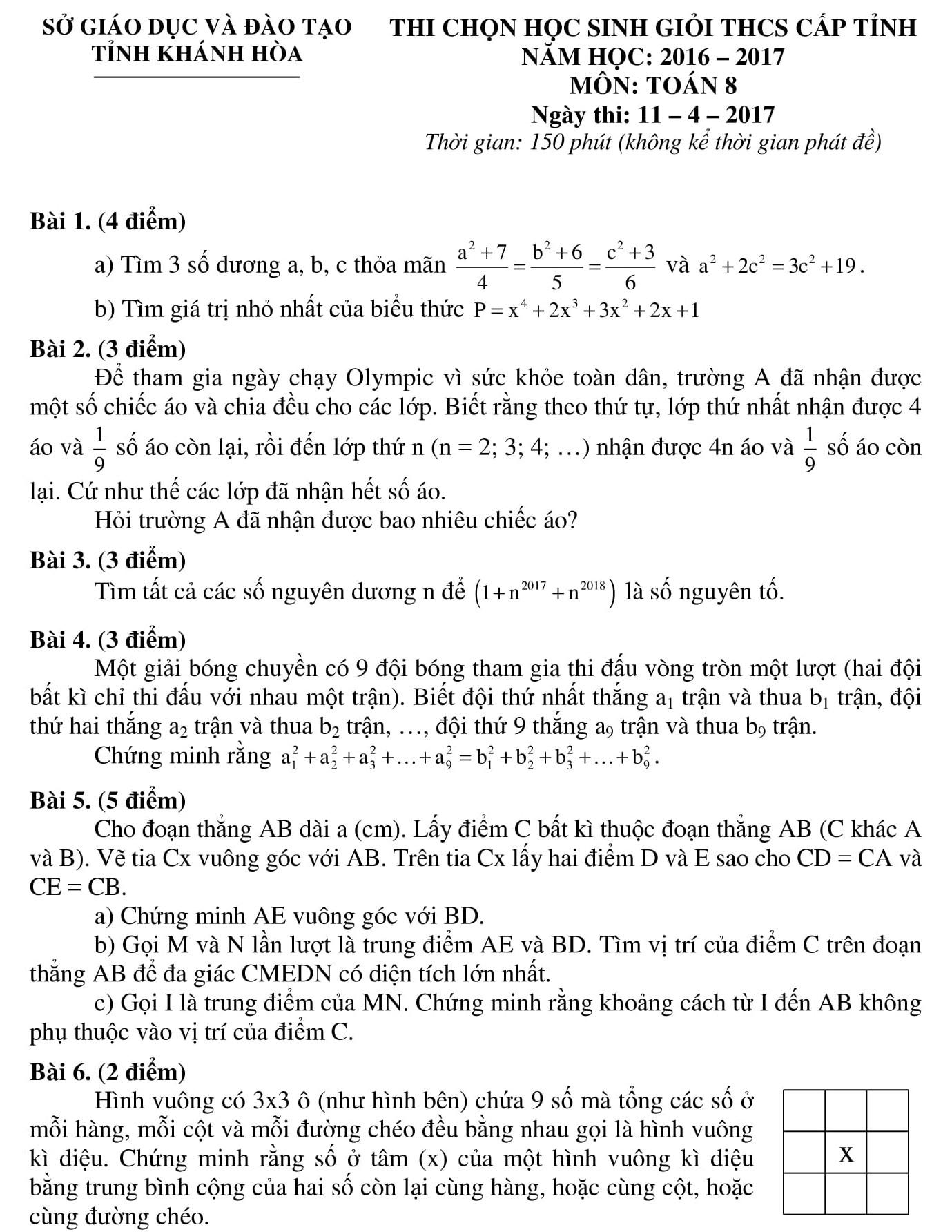 Đáp án và đề thi HSG toán 8 phòng GD&ĐT Khánh Hòa 2016-2017
