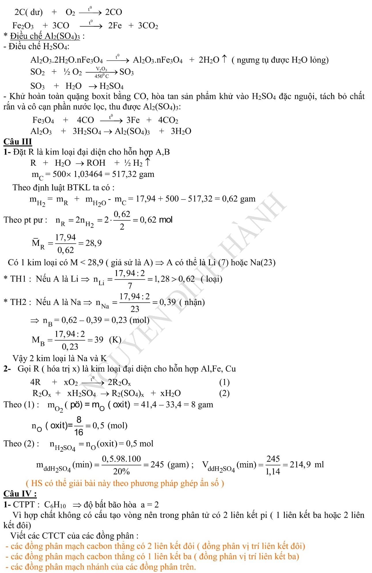 Đáp án và đề thi HSG Hóa Học 9 phòng GD&ĐT Hưng Yên 2010-2011