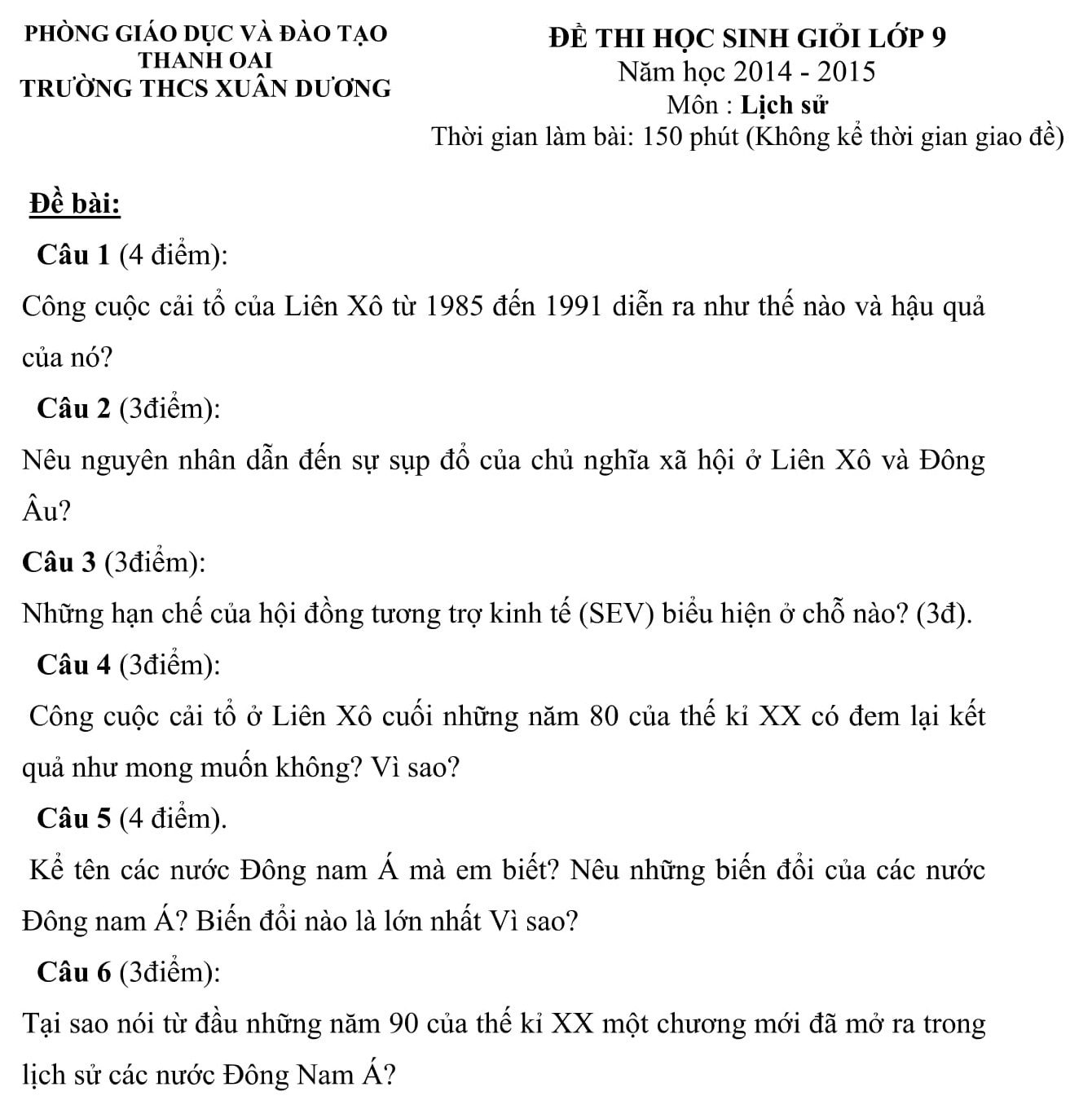 Đáp án và đề thi HSG Lịch Sử 9 phòng GD&ĐT Thanh Oai 2014-2016