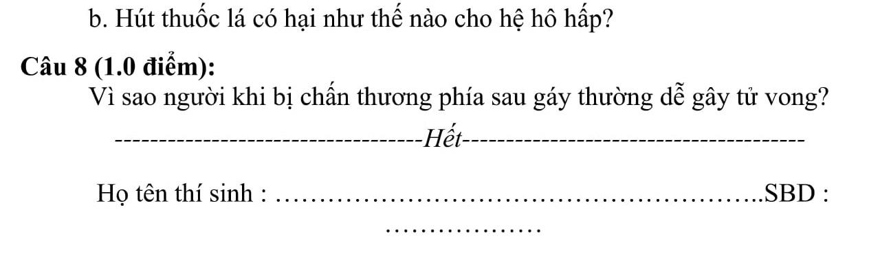 Đáp án và đề thi HSG Sinh Học 8 phòng GD&ĐT Hậu Lộc 2015-2016