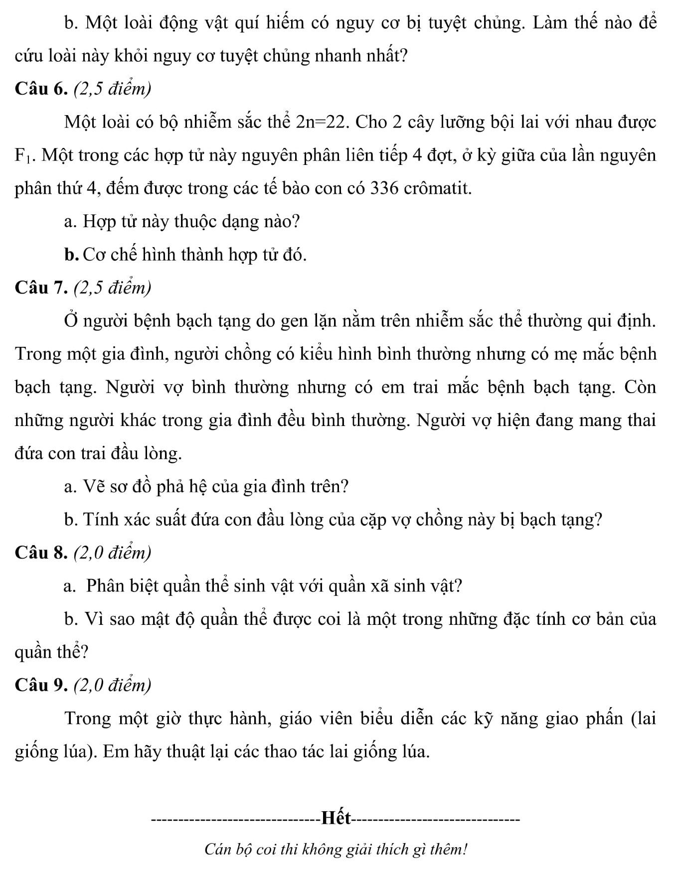 Đáp án và đề thi HSG Sinh Học 9 phòng GD&ĐT Bắc Giang 2012-2013