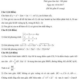 Đáp án và đề thi HSG toán 10 phòng GD&ĐT Hải Dương 2016-2017
