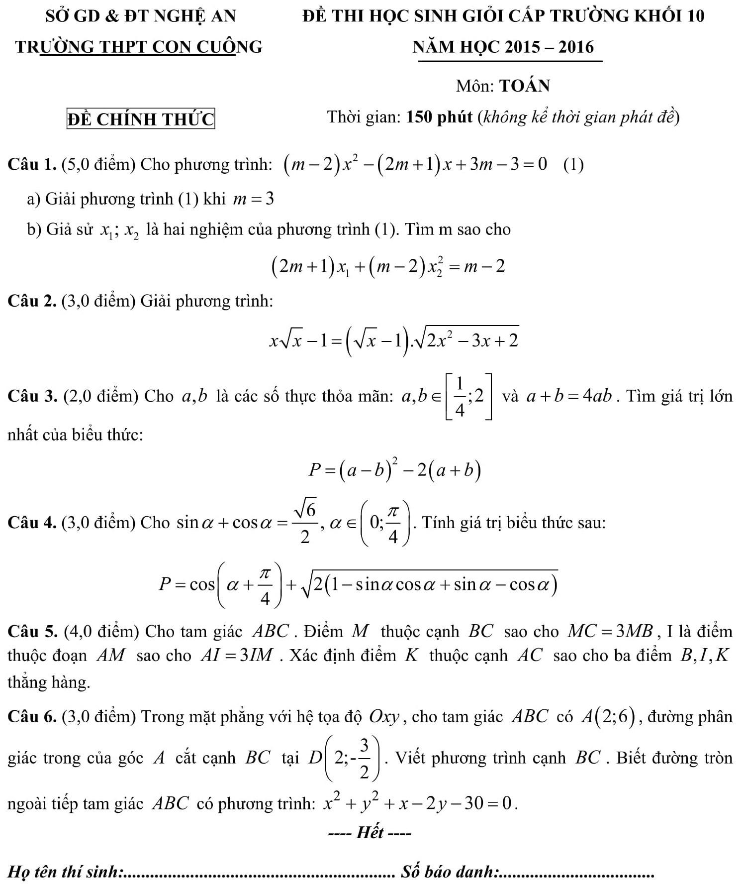 Đáp án và đề thi HSG toán 10 phòng GD&ĐT Nghệ An 2015-2016