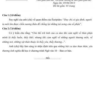 Đáp án và đề thi HSG Ngữ Văn 10 phòng GD&ĐT Hải Dương 2012-2013