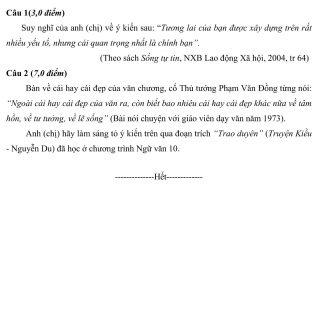 Đáp án và đề thi HSG Ngữ Văn 10 sở GD&ĐT Hải Dương 2013-2014