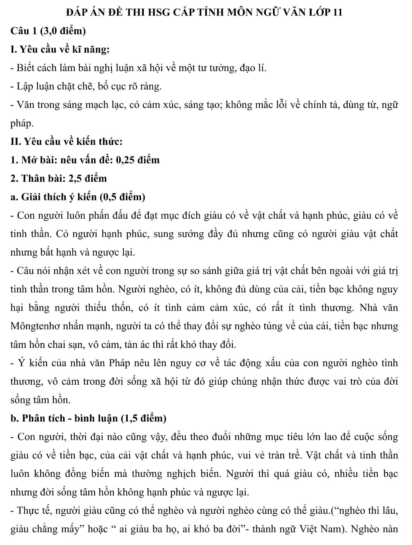 Đáp án và đề thi HSG Ngữ Văn 11 sở GD&ĐT Vĩnh Phúc 2015-2016
