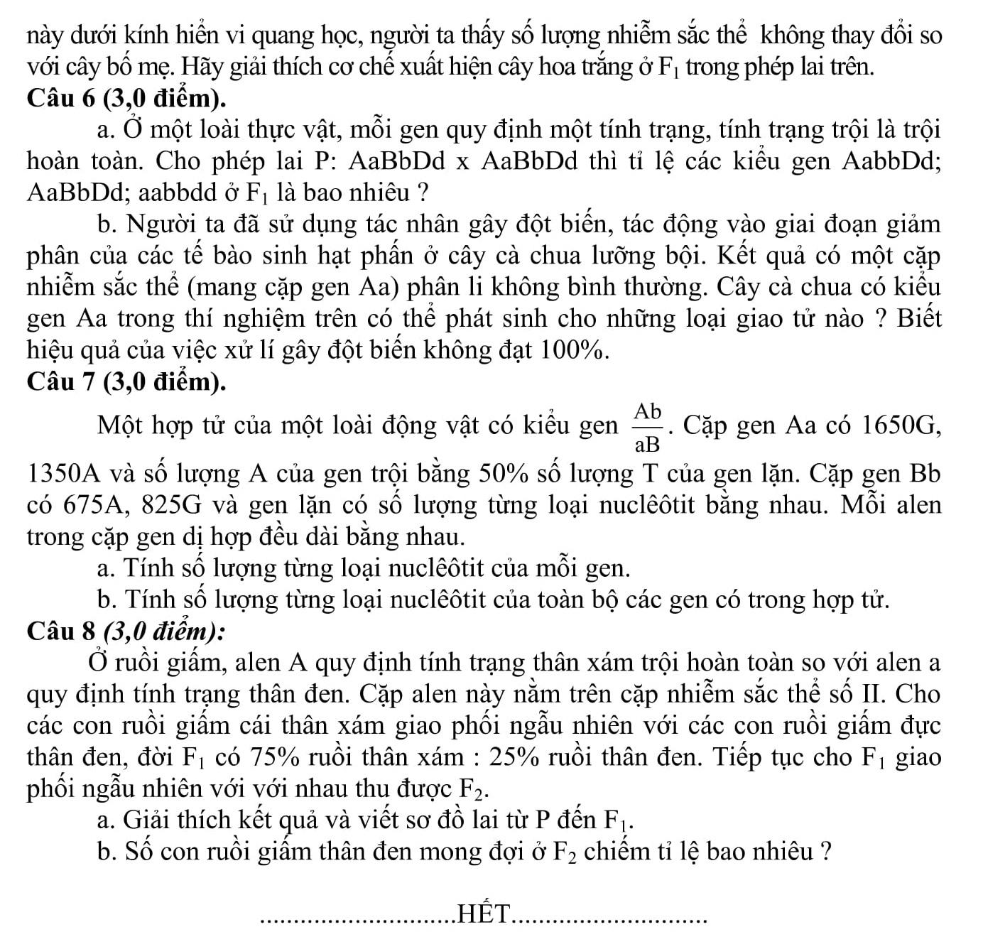 Đáp án và đề thi HSG SInh Học 9 phòng GD&ĐT Thanh Hóa 2013-2014