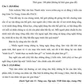 Đáp án và đề thi HSG Ngữ Văn 12 sở GD&ĐT Tây Ninh 2014-2015