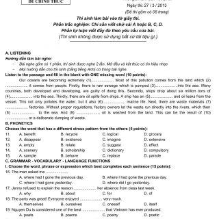 Đáp án và đề thi HSG Anh Văn 9 sở GD&ĐT Hải Dương 2012-2013