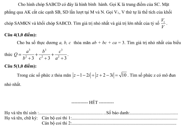 Đáp án và đề thi HSG Toán sở GD&ĐT Ninh Bình 2017-2018