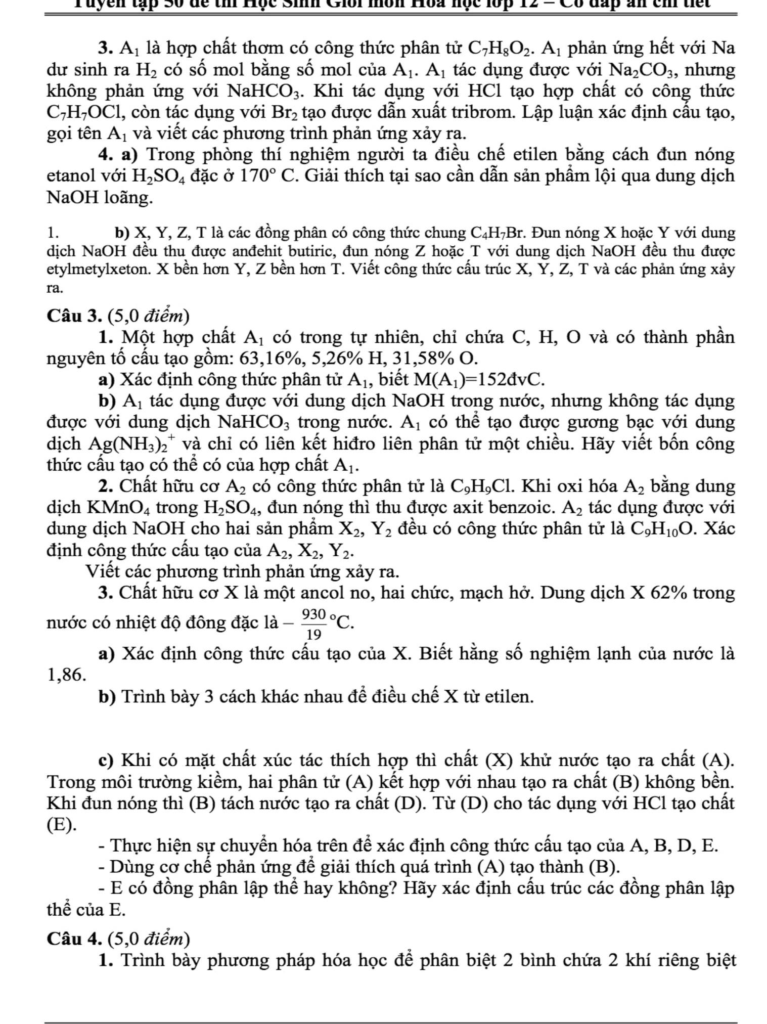 Đáp án và đề thi HSG Hóa học lớp 12 GD&ĐT Quảng Trị 2015-2016