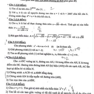 Đề thi tuyển chọn giáo viên dạy giỏi môn toán huyện Yên Phong