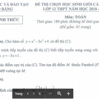 Đề thi và đáp án học sinh giỏi môn Toán 12 tỉnh Cao Bằng 2018