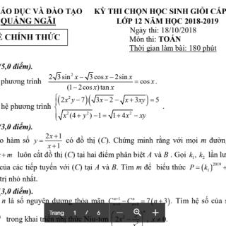 Đề thi và đáp án tuyển chọn đội tuyển HSG Toán 12 năm 2018 tỉnh Quảng Ngãi