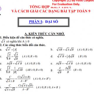 Tài liệu bồi dưỡng học sinh giỏi toán lướp 9