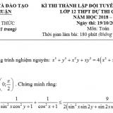 Đề thi chọn HSG cấp tỉnh Toán 12 năm 2018 – 2019 sở GD và ĐT Bình Thuận (Vòng 2)
