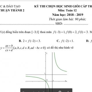 Đề học sinh giỏi toán 12 tỉnh Bắc Ninh