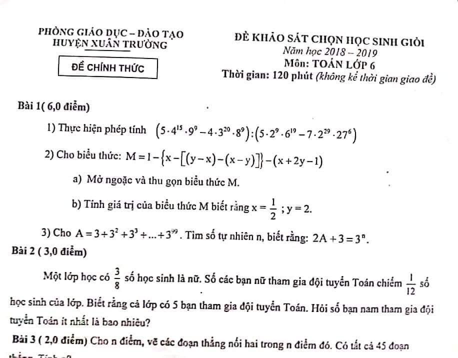 Đề thi chọn học sinh giỏi toán 6 Nam Định