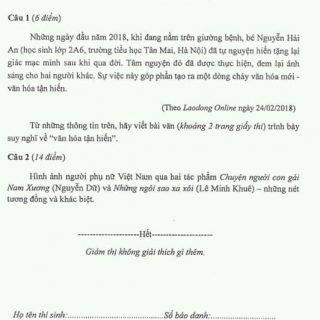 Đề thi học sinh giỏi Ngữ văn 9 tp Hà Nội 2018