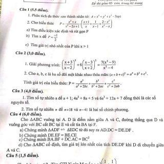 Đề thi học sinh giỏi toán 8 năm 2019