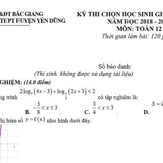 Đề thi và đáp án học sinh giỏi Toán 12 tỉnh Bắc Giang 2019