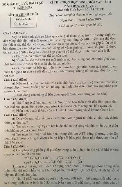 ĐỀ THI HSG CẤP TỈNH MÔN SINH 11 TỈNH THANH HÓA