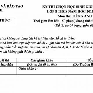 ĐỀ THI HSG CẤP HUYỆN MÔN TIẾNG ANH 8 - PGDĐT KỲ ANH 2011-2012 (CÓ ĐÁP ÁN)